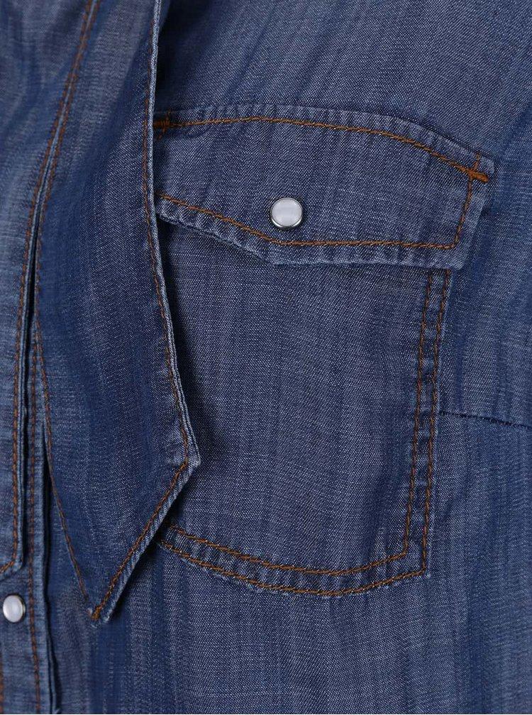 Tmavě modrá dámská džínová košile s vázankou s.Oliver