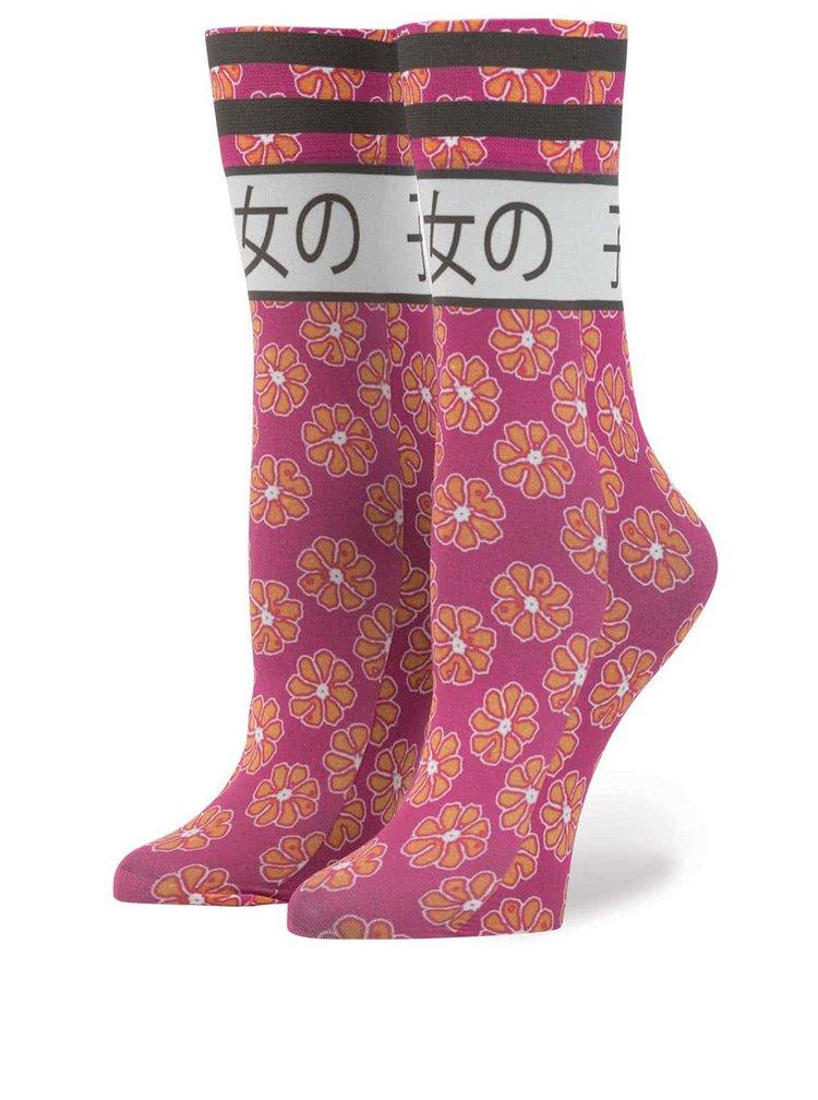 Růžové dámské ponožky s japonským motivem Stance Bad Girl
