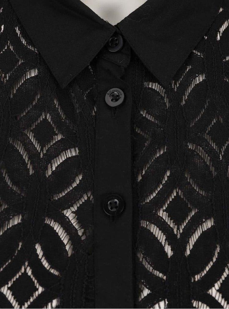 Černé dámské krajkové šaty s límečkem QS by s.Oliver