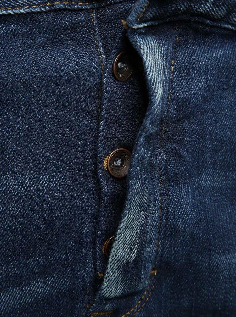Blugi albastru inchis s.Oliver regular fit cu aspect prespalat si curea maro