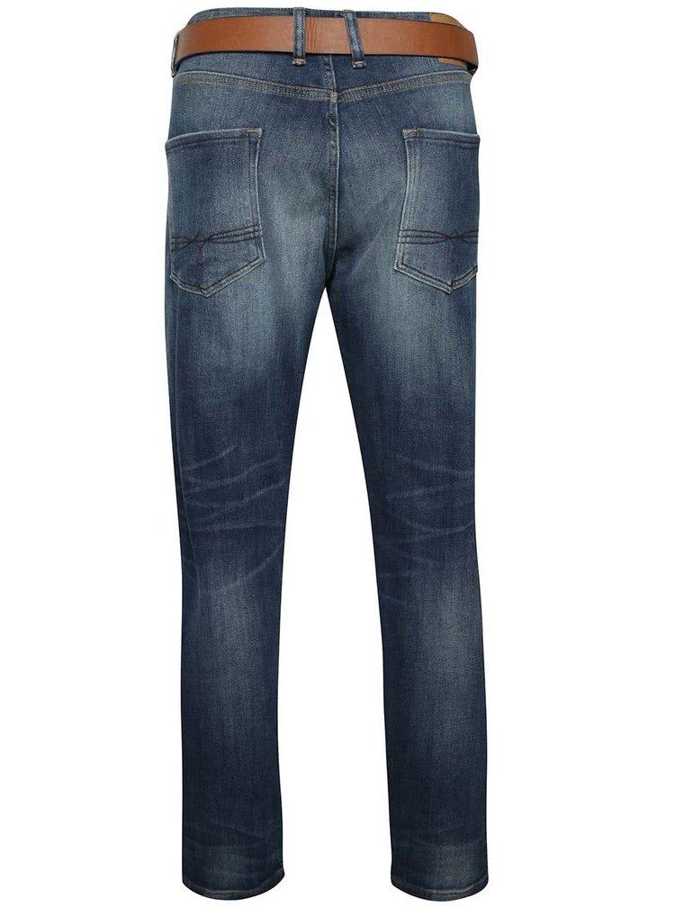 Tmavě modré pánské vyšisované regular fit džíny s páskem s.Oliver