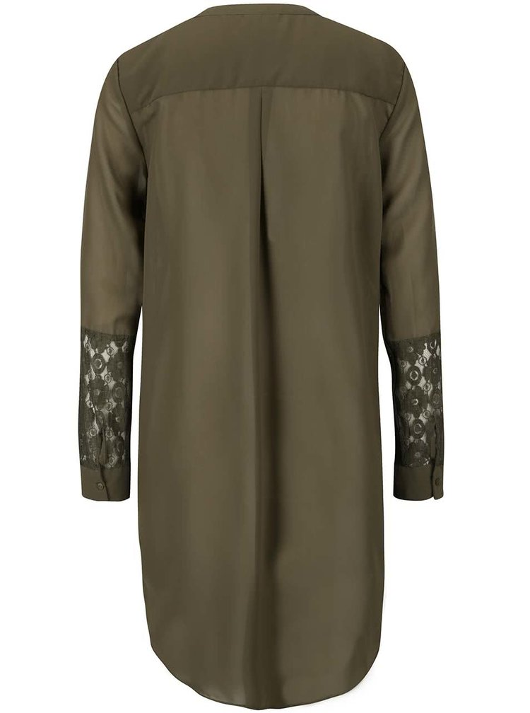 Khaki volnější tunika s krajkovými detaily VERO MODA Sylvie