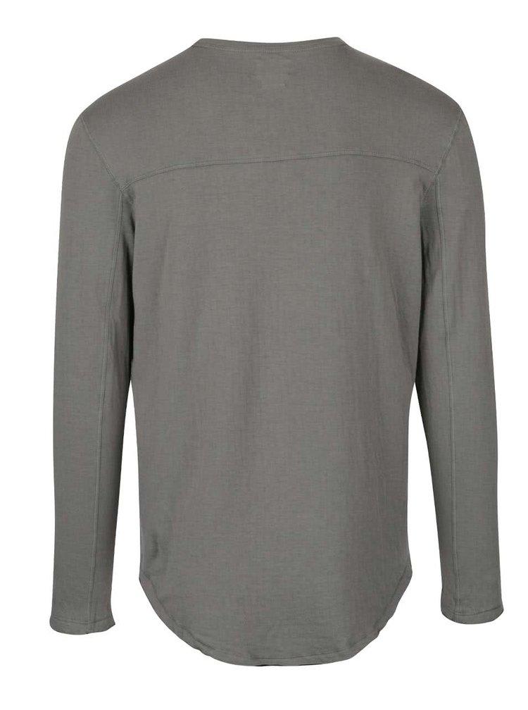 Šedé triko s dlouhým rukávem Selected Homme Ludvig