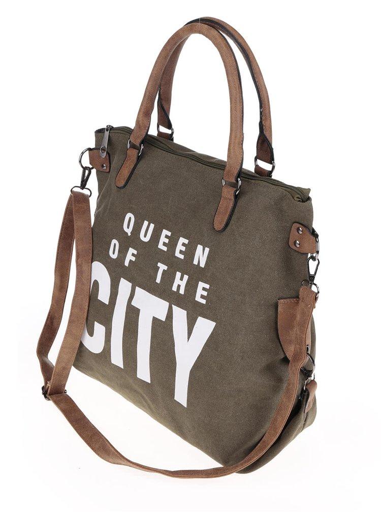 Khaki větší kabelka s potiskem Haily´s Tasche City