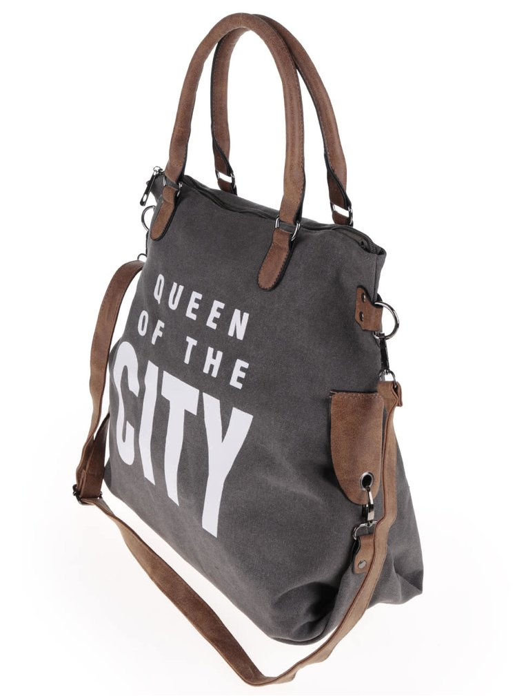 Hnědošedá větší kabelka s potiskem Haily´s Tasche City