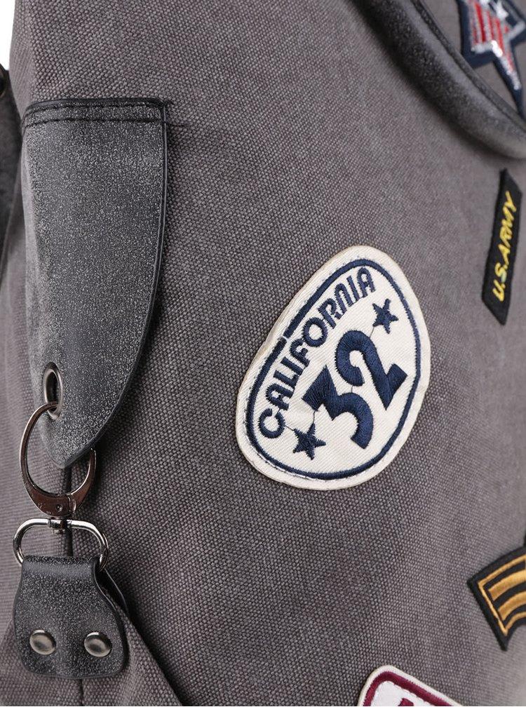 Šedá větší kabelka s nášivkami Haily´s Tasche