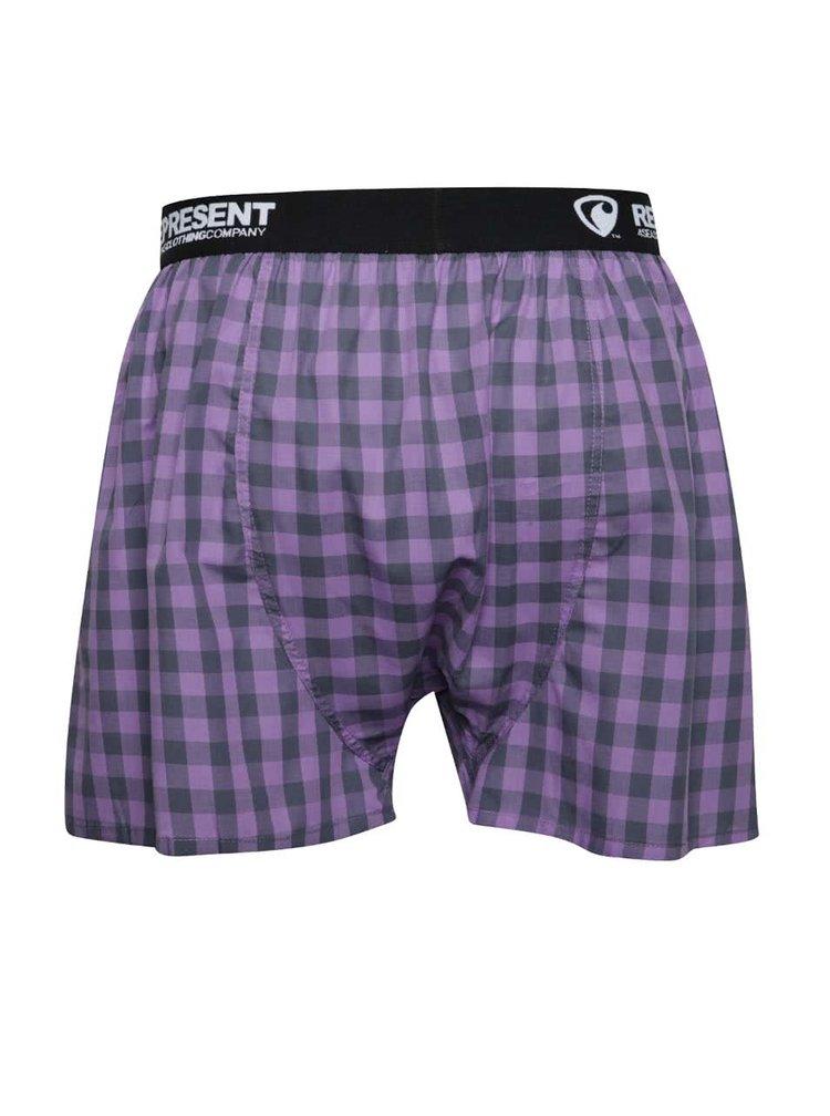 Černo-fialové kostkované trenýrky Represent Mikebox