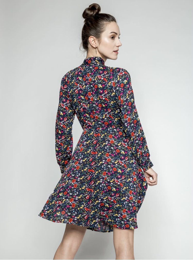 Rochie bleumarin Trollied Dolly What A Scarf cu panglici si model floral