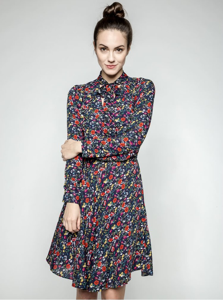 Rochie bleumarin Trollied Dolly What A Scarf cu panglici și model floral
