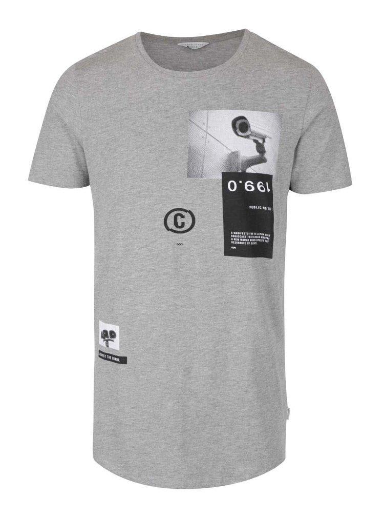 Světle šedé žíhané triko s potiskem Jack & Jones Announcement