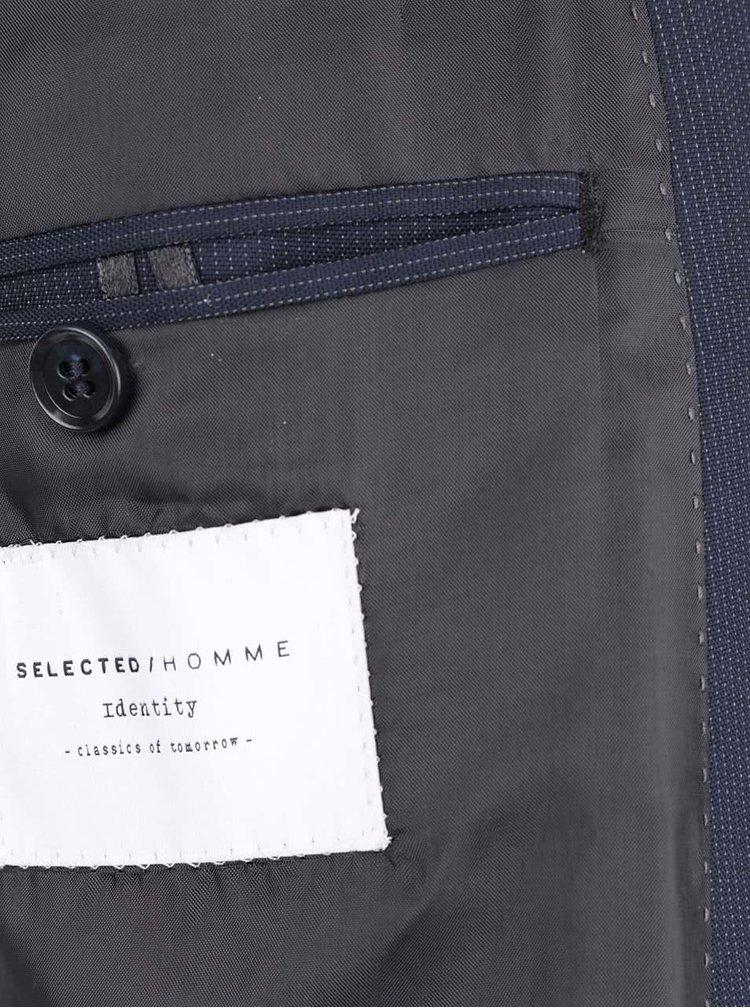 Tmavě modré sako s jemným vzorováním Selected Homme Donetim