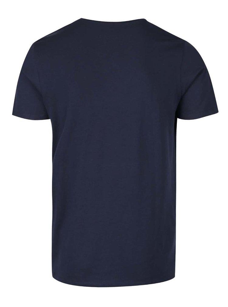 Tmavě modré triko s potiskem Jack & Jones Radical