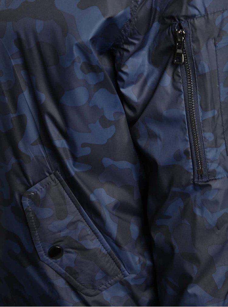 Tmavě modrý vzorovaný bomber s kapucí Dorothy Perkins