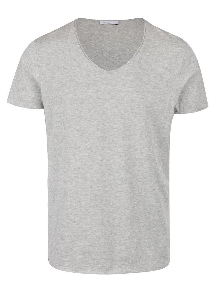 Šedé tričko s krátkým rukávem Selected Homme Merce