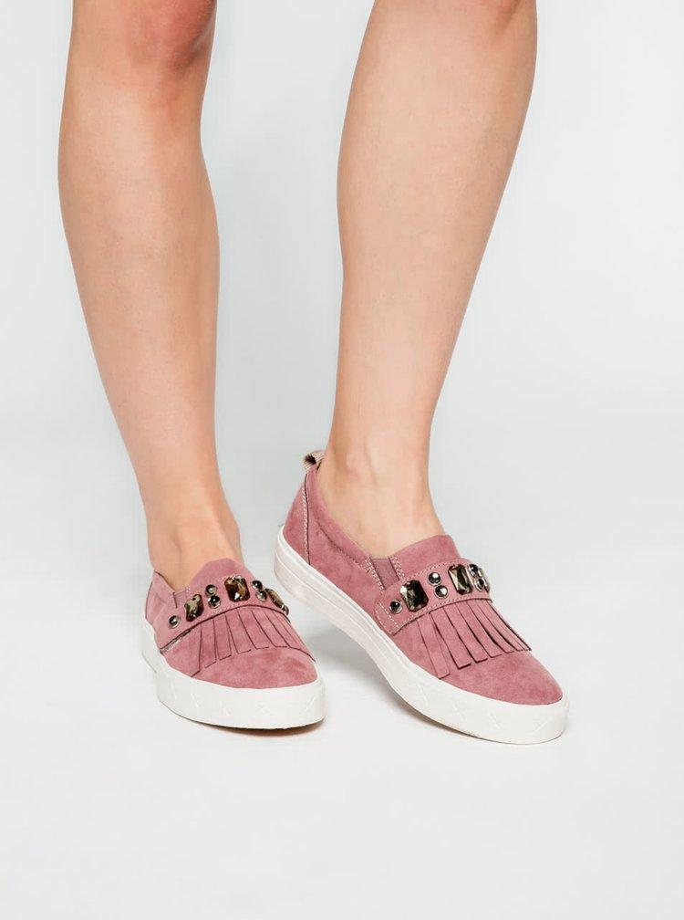 Pantofi slip on roz Tamaris cu aplicații