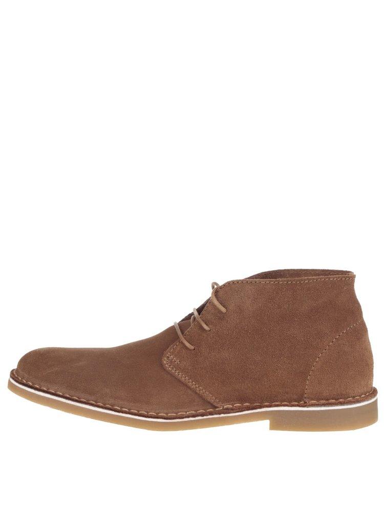 Hnědé semišové kotníkové boty Selected Homme Royce