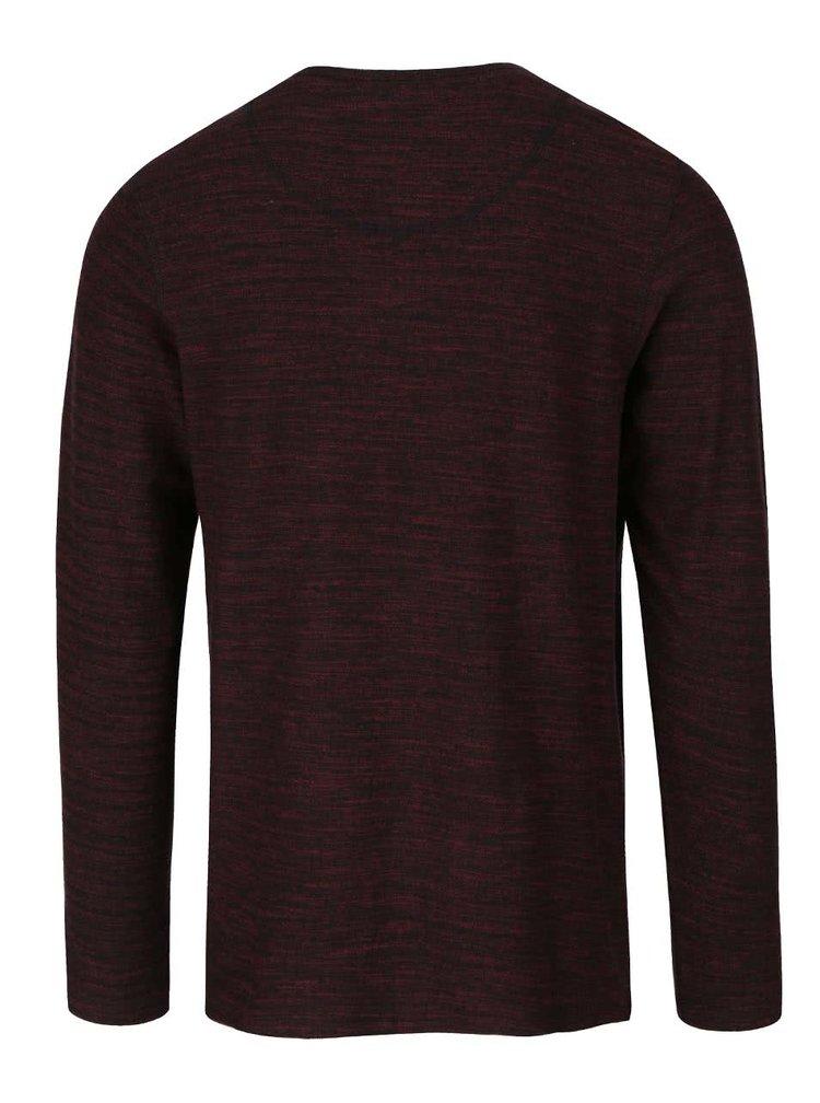 Černo-vínové žíhané tričko s knoflíky a dlouhým rukávem Jack & Jones Sebastian