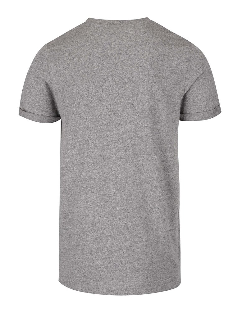Světle šedé žíhané triko s kapsou a krátkým rukávem Jack & Jones Design
