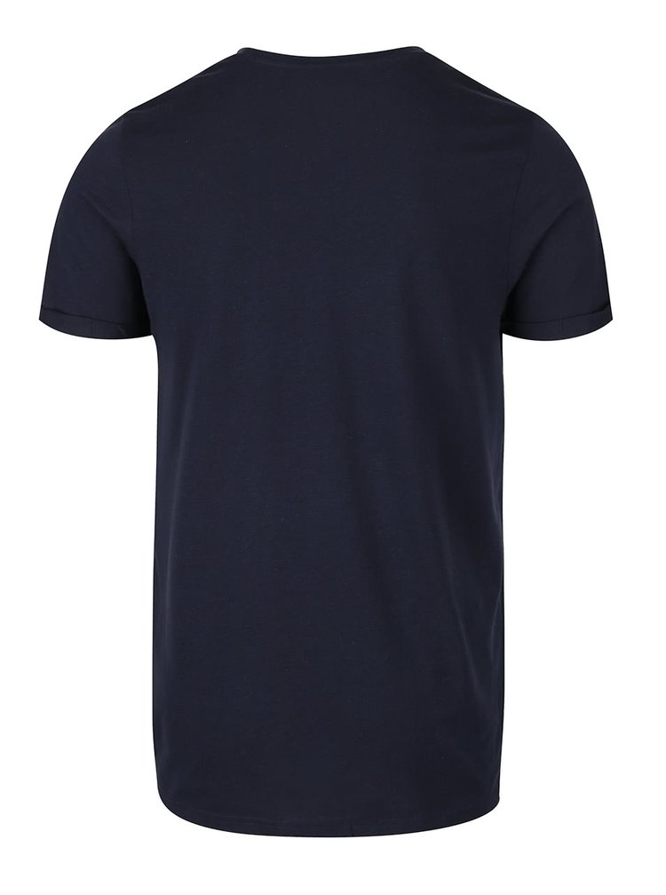 Tricou albastru inchis Jack & Jones Design cu buzunar