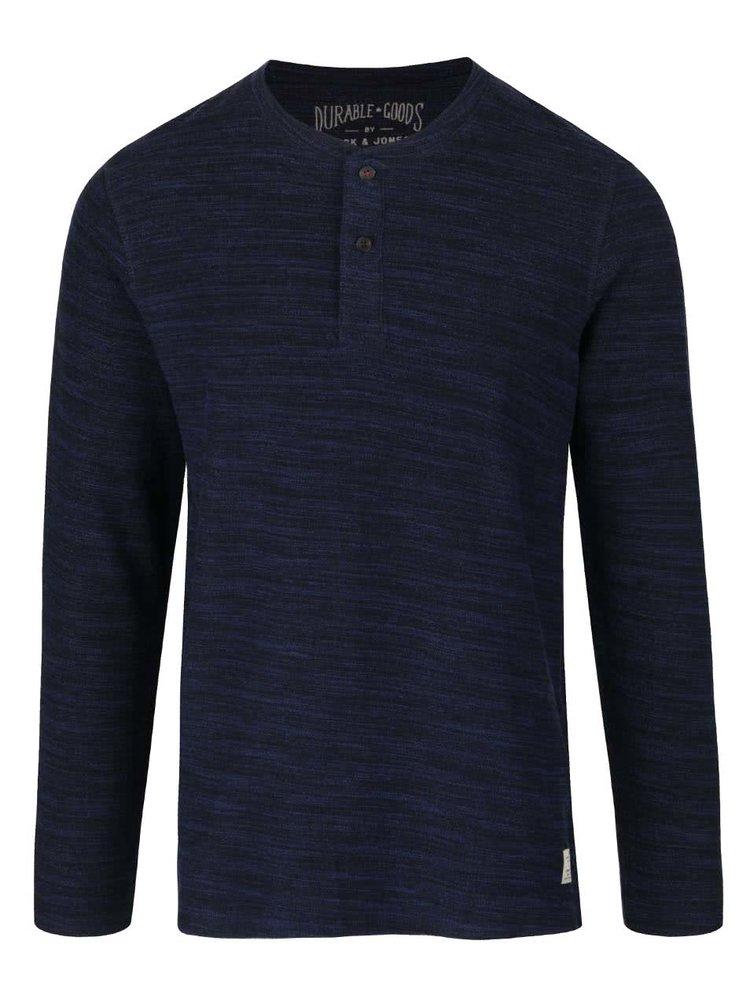 Modré žíhané tričko s knoflíky a dlouhým rukávem Jack & Jones Sebastian