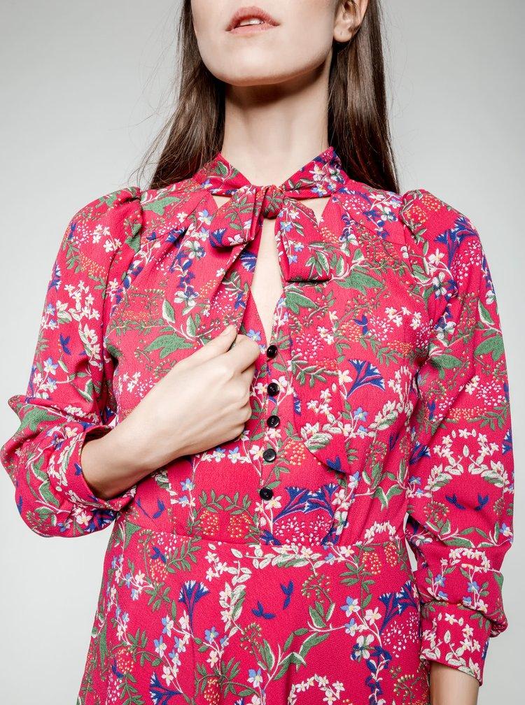 Rochie roz cu imprimeu floral Trollied Dolly What A Scarf cu panglici si imprimeu floral