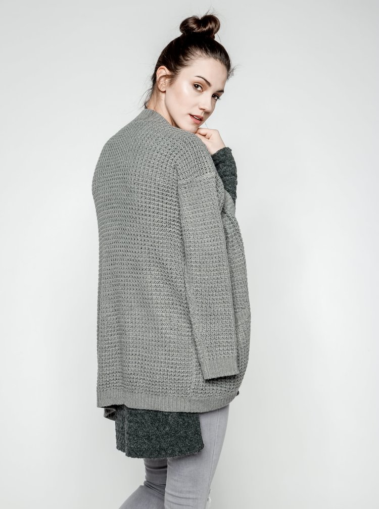 Cardigan lung gri ONLY Emma tricotat