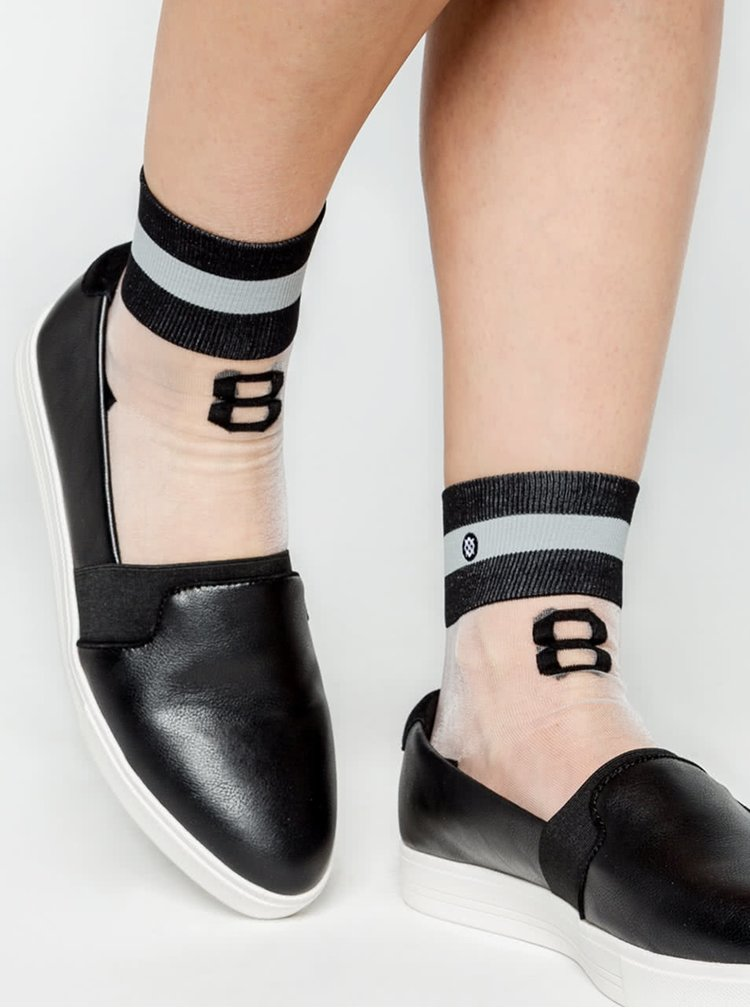 Șosete de damă Stance Number alb-negre