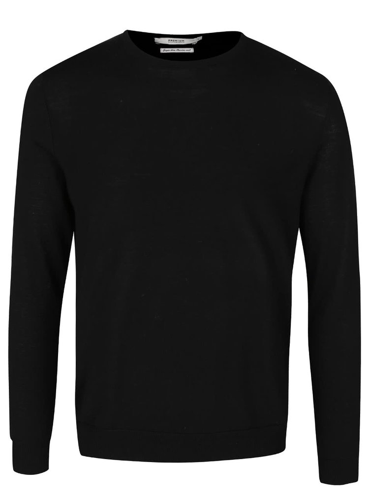 Pulover negru din lana Merino Jack & Jones Premium Mark