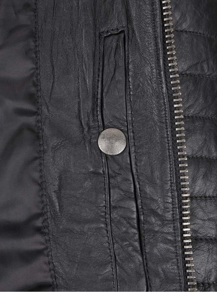 Jachetă neagră Jack & Jones Richard din piele