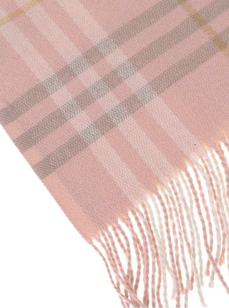 Šedo-růžová šála s třásněmi Pieces Dikke