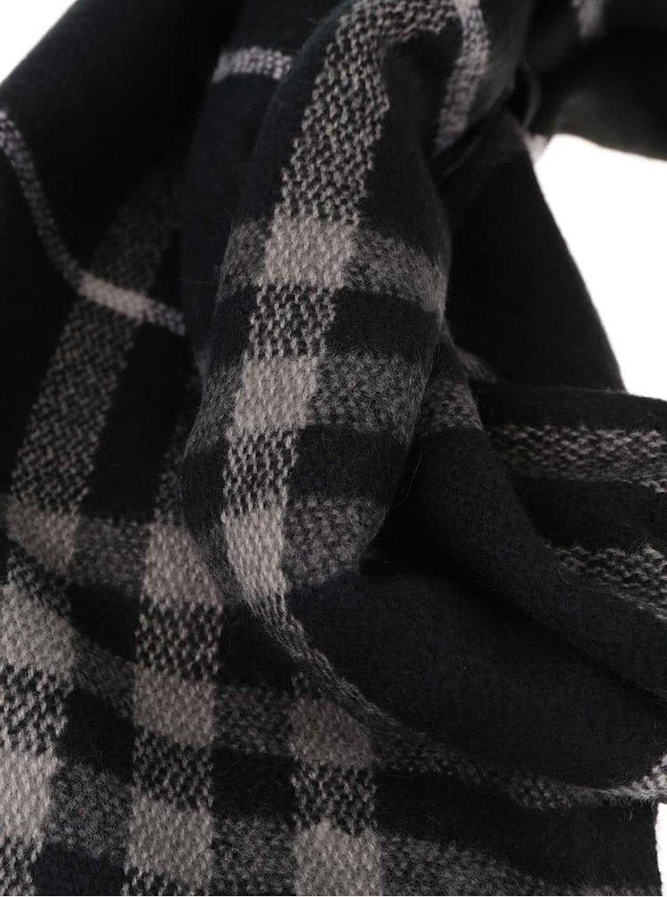 Šedo-černá šála s třásněmi Pieces Dikke