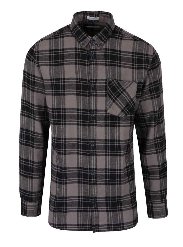 Šedo-černá kostkovaná flanelová košile Jack & Jones Peter