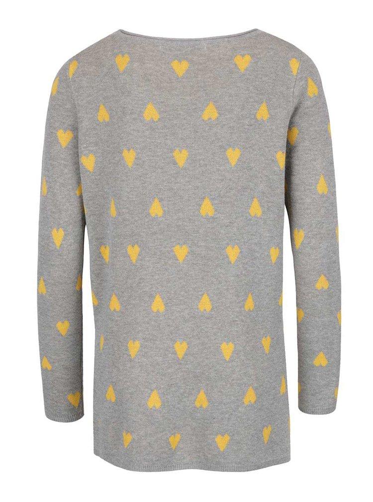 Šedý svetr s motivem srdíček ONLY Daniella