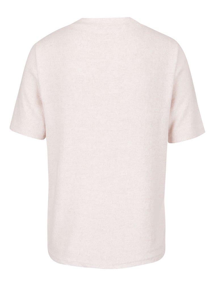 Tricou roz melanj deschis cu croiala lejera ONLY Idaho