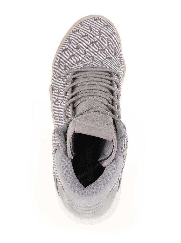 Šedé pánské vzorované kožené kotníkové tenisky adidas Originals Tubular Instinct