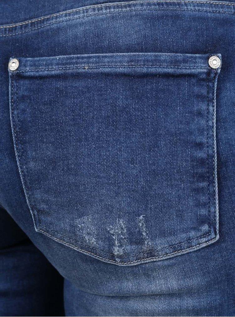 Jeansi skinny bleumarin cu aspect uzat ONLY Carmen