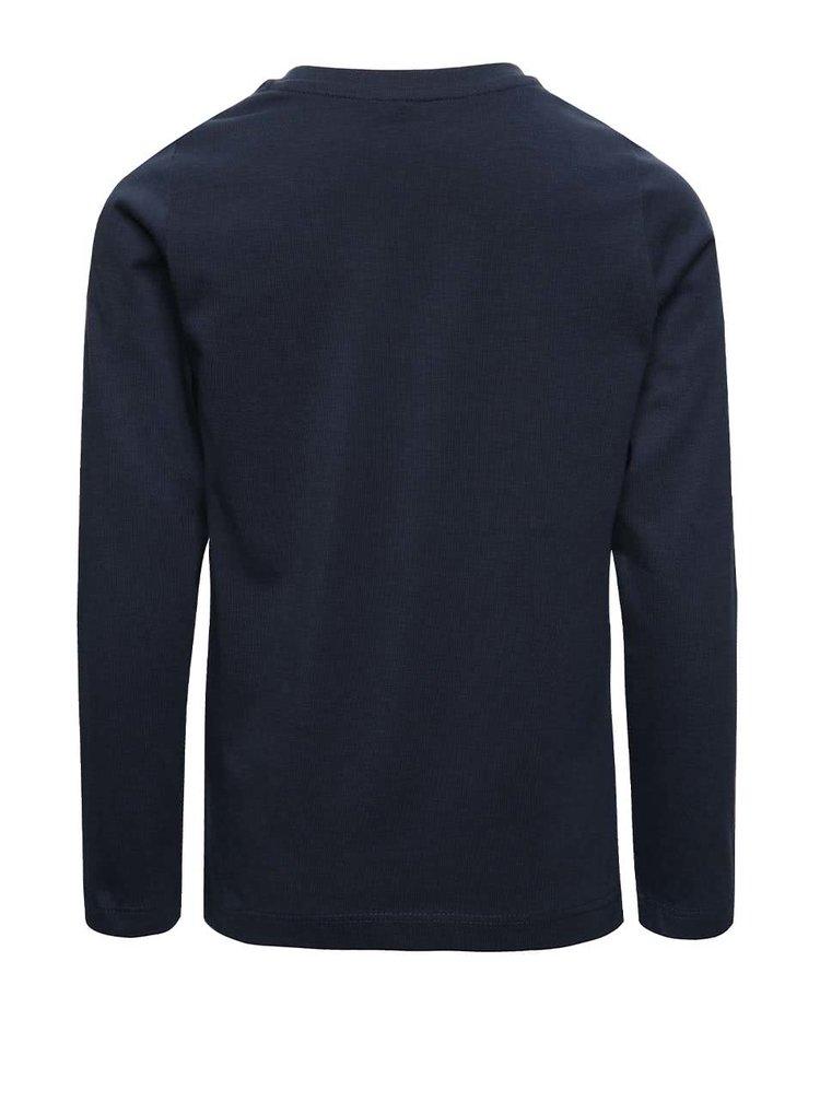 Tmavě modré klučičí tričko s potiskem a dlouhým rukávem name it Dex