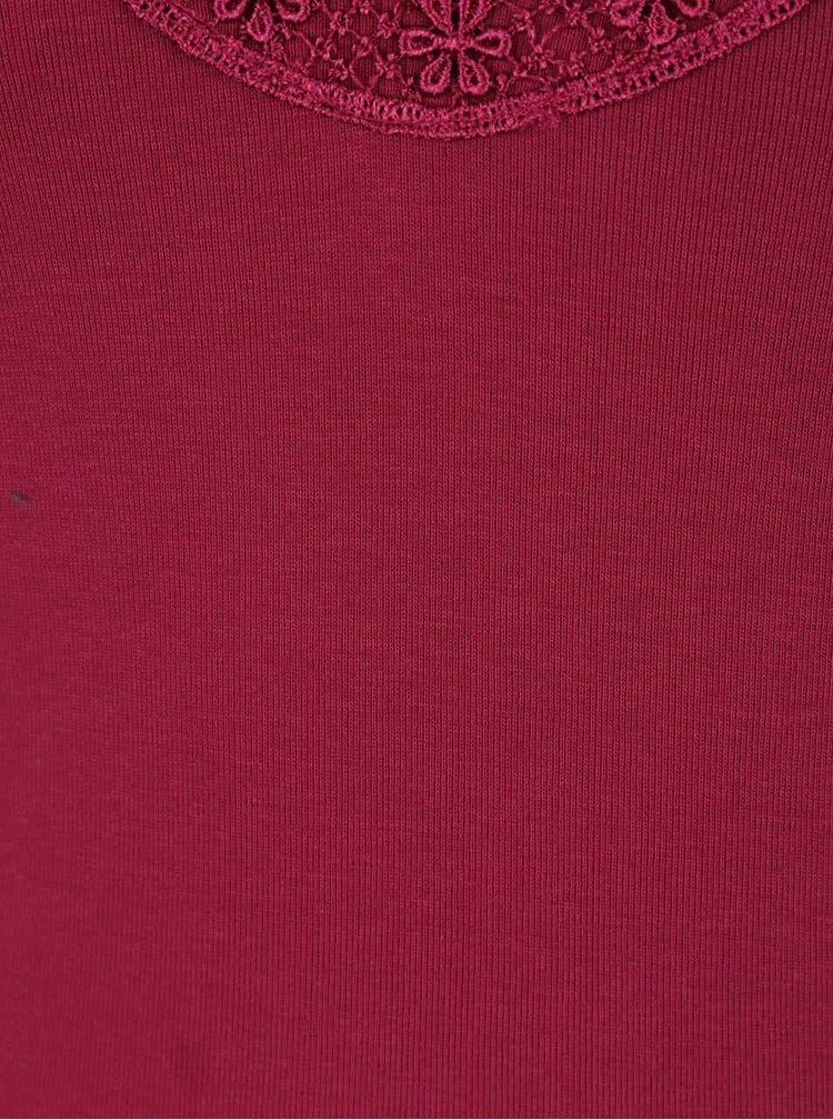 Tmavě růžové tílko s krajkou v dekoltu VERO MODA New Ratli