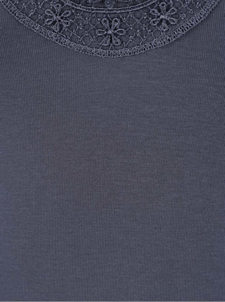 Tmavě modré tílko s krajkou v dekoltu VERO MODA New Ratli