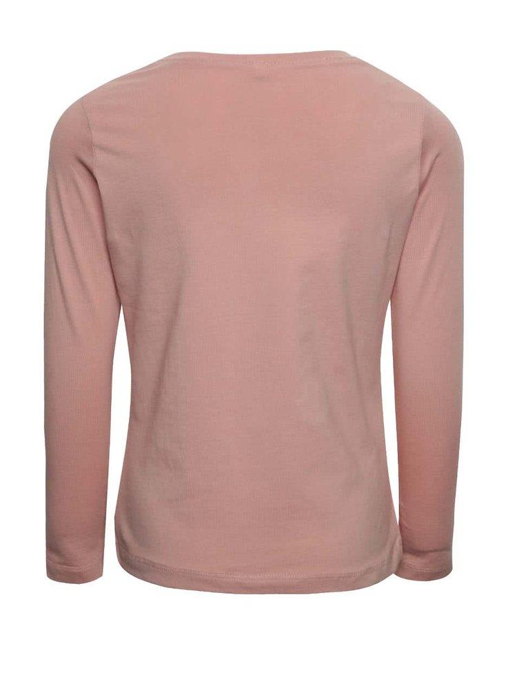 Světle růžové holčičí tričko s potiskem a dlouhým rukávem name it Dana