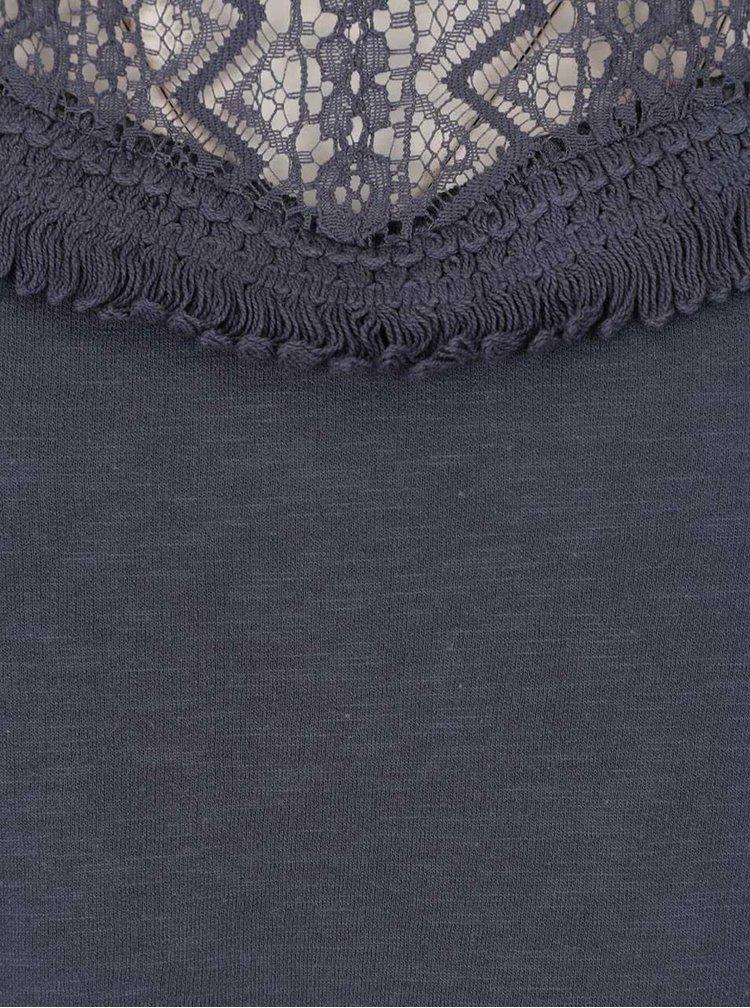 Bluză gri petrol VERO MODA Sindi cu detaliu dantelă