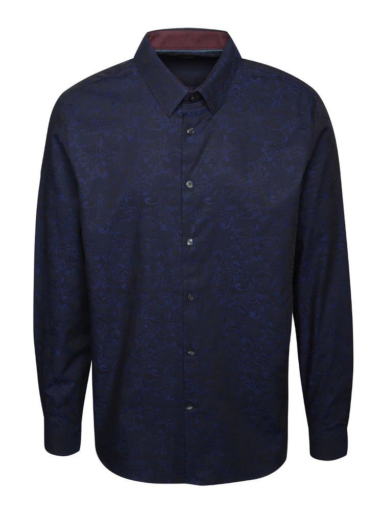 Cămașă albastră Burton Menswear London din bumbac cu model floral discret