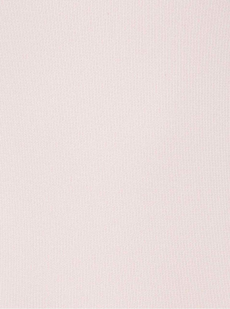 Světle růžové žebrované tílko s krajkovým lemem VERO MODA June
