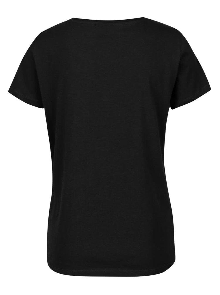 Černé tričko s flitrovou aplikací VERO MODA Army