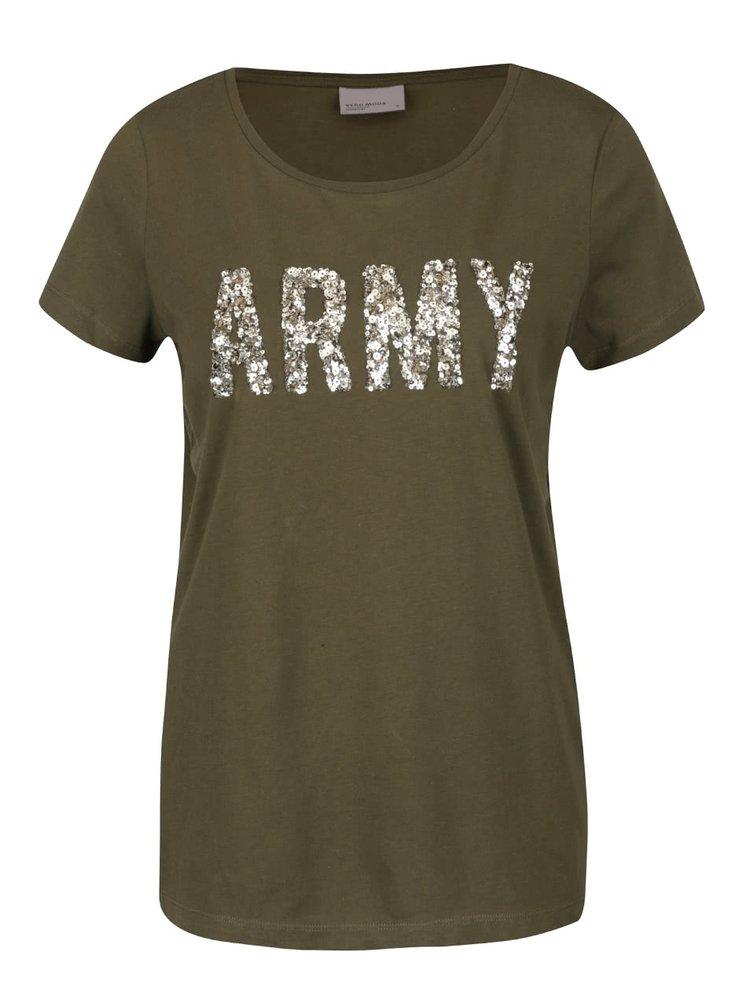 Khaki tričko s flitrovanou aplikací VERO MODA Army