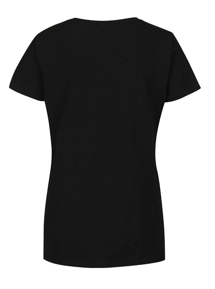 Černé tričko s aplikací VERO MODA Glitter Better