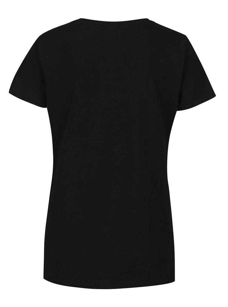 Černé tričko s korálkovou aplikací VERO MODA Glitter Time