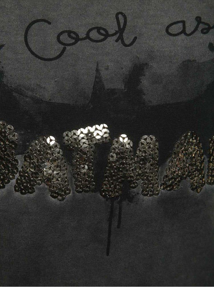 Tmavě šedé holčičí tričko s potiskem netopýra name it Batman