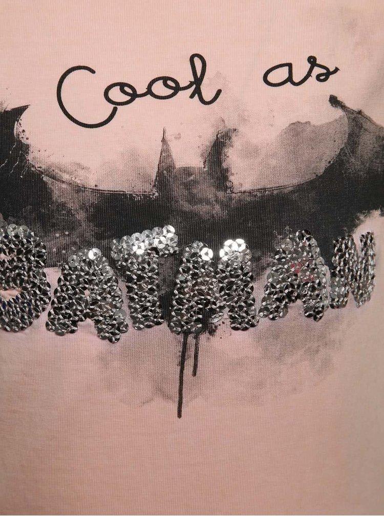Světle růžové holčičí tričko s potiskem netopýra name it Batman