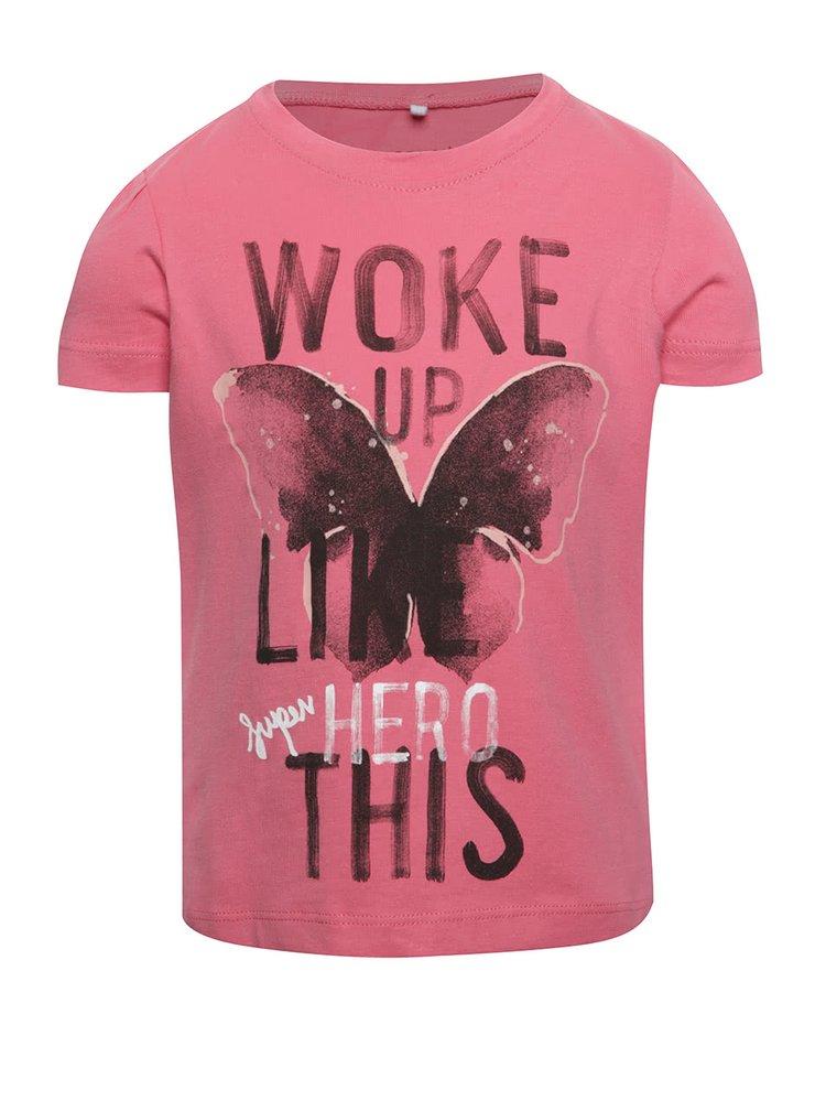 Růžové holčičí tričko s potiskem name it Veen Jolly